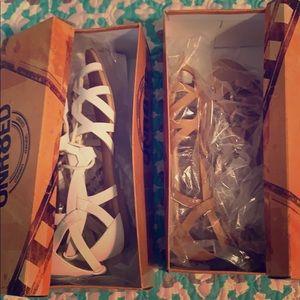 2 pair Unr8ed sandals shoes brown white 7.5